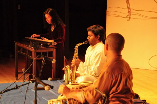 The premier of Prasant's original work Bodhidharma Ensemble, May 2013. Wang Fei - Guqin, Jim Santi Owen - Tabla.