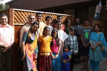 Prasant with some of his students and their families